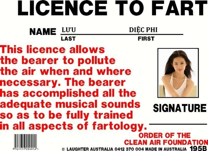 Licence to fart